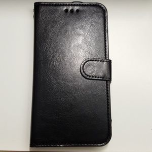 "Wallet case for iphone XR 6.1"" black leather new"